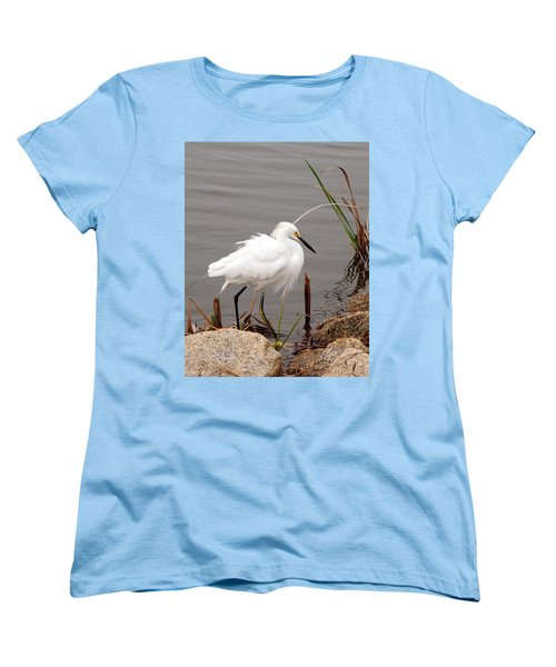 Snowy Egret Women's T-Shirt (Standard Cut) by Kay Lovingood