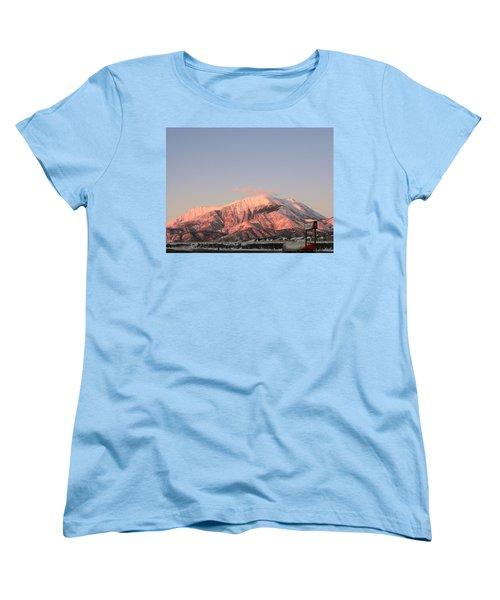 Snowy Mountain At Sunset Women's T-Shirt (Standard Cut) by Adam Cornelison