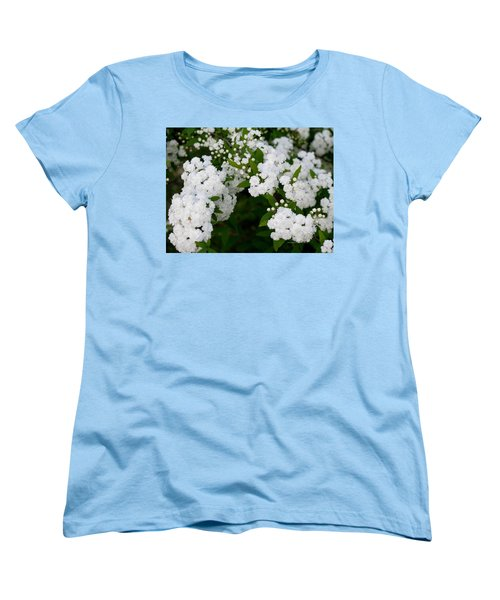 Spirea Blooms Women's T-Shirt (Standard Cut) by Maria Urso