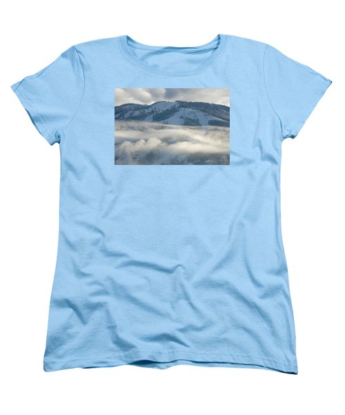 Women's T-Shirt (Standard Cut) featuring the photograph Steamboat Ski Area In Clouds by Don Schwartz