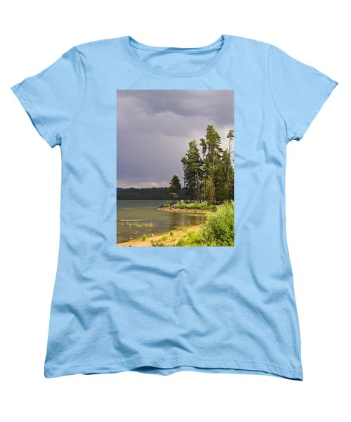 Women's T-Shirt (Standard Cut) featuring the photograph Storm Clouds Over A Lake by Anne Mott