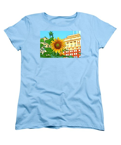 Women's T-Shirt (Standard Cut) featuring the photograph Sunflower In The City by Alice Gipson