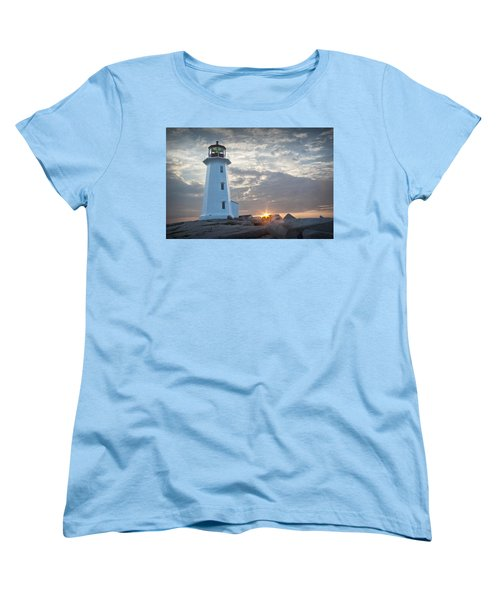 Sunrise At Peggys Cove Lighthouse In Nova Scotia Number 041 Women's T-Shirt (Standard Cut)