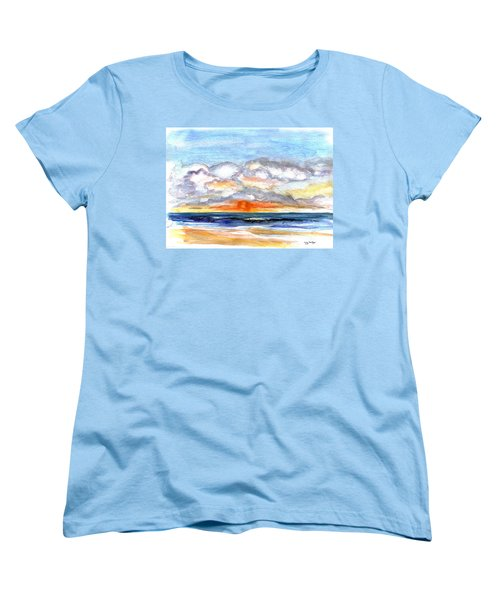 Women's T-Shirt (Standard Cut) featuring the painting Sunset Clouds by Clara Sue Beym