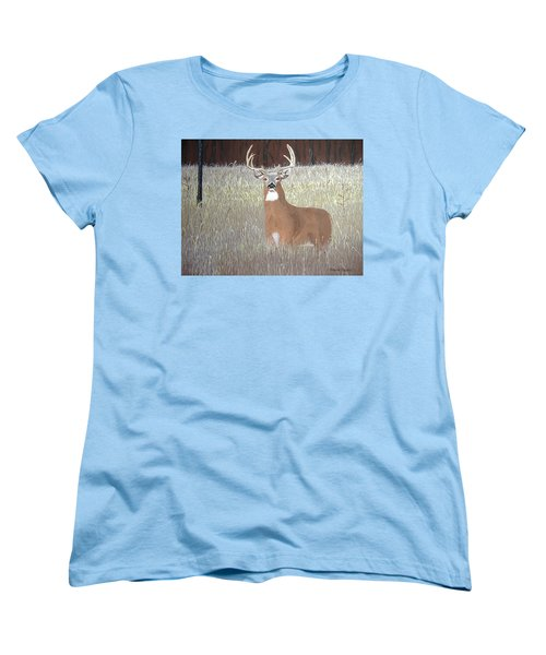 Women's T-Shirt (Standard Cut) featuring the painting The Buck Stops Here by Norm Starks
