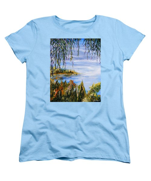 Women's T-Shirt (Standard Cut) featuring the painting The Cove by Karen  Ferrand Carroll