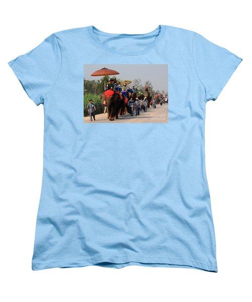 Women's T-Shirt (Standard Cut) featuring the photograph The Elephant Parade by Vivian Christopher