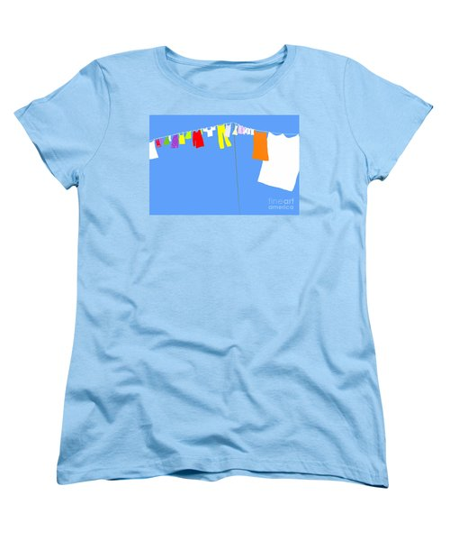 Women's T-Shirt (Standard Cut) featuring the digital art Washing Line Simplified Edition by Barbara Moignard