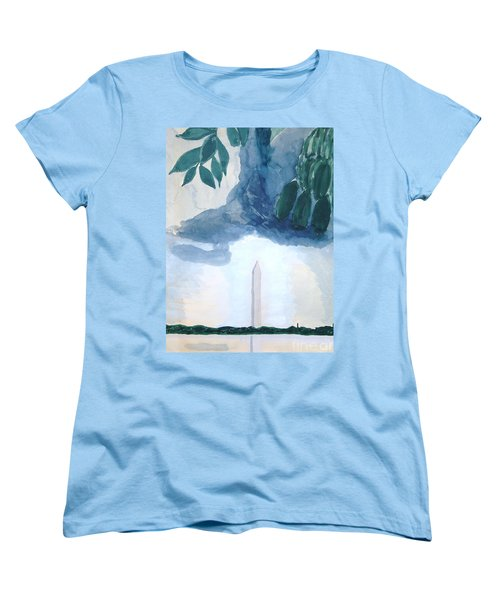Women's T-Shirt (Standard Cut) featuring the painting Washington Monument by Rod Ismay