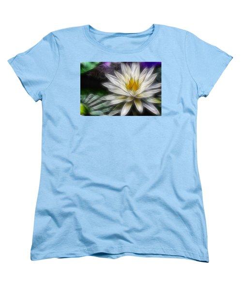 Waterlily In Pseudo-fractal Women's T-Shirt (Standard Cut) by Lynne Jenkins