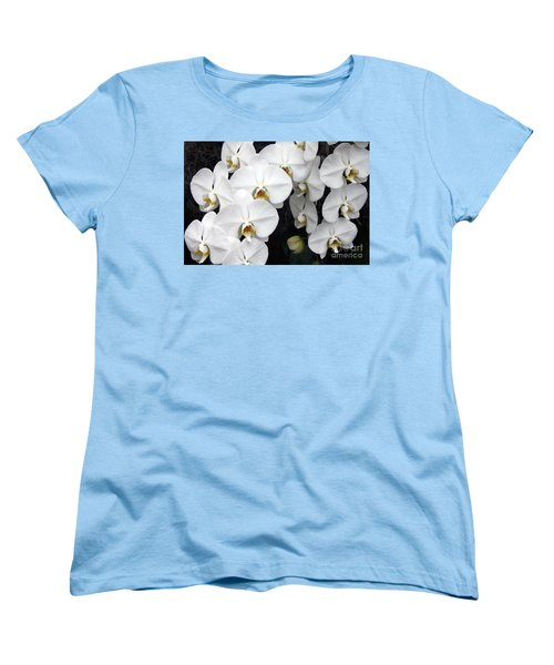 Women's T-Shirt (Standard Cut) featuring the photograph White Orchids by Debbie Hart