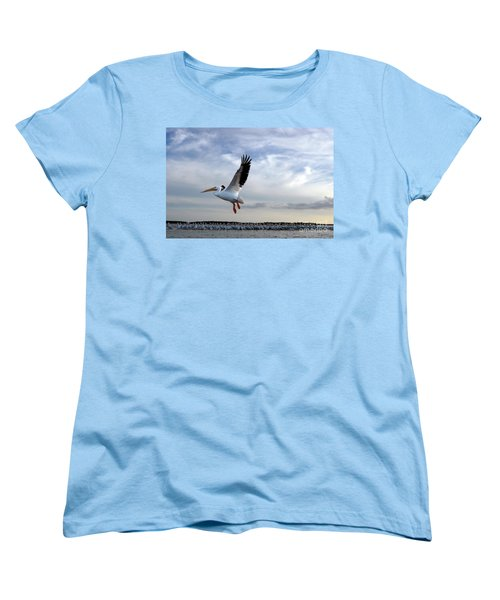 Women's T-Shirt (Standard Cut) featuring the photograph White Pelican Flying Over Island by Dan Friend