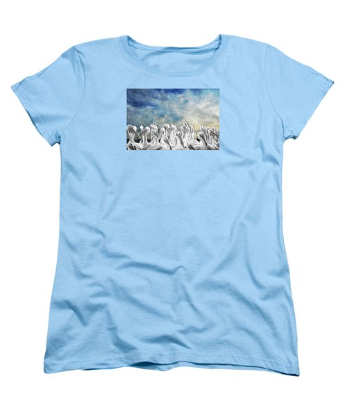 Women's T-Shirt (Standard Cut) featuring the photograph White Pelicans In Group by Dan Friend