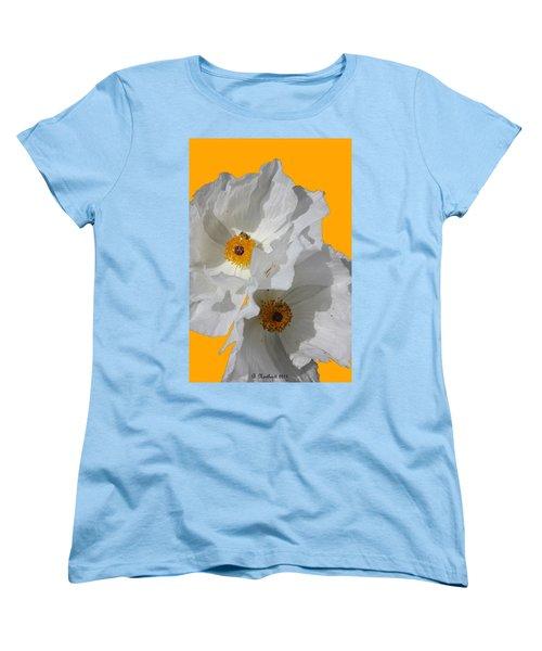White Poppies On Yellow Women's T-Shirt (Standard Cut) by Betty Northcutt