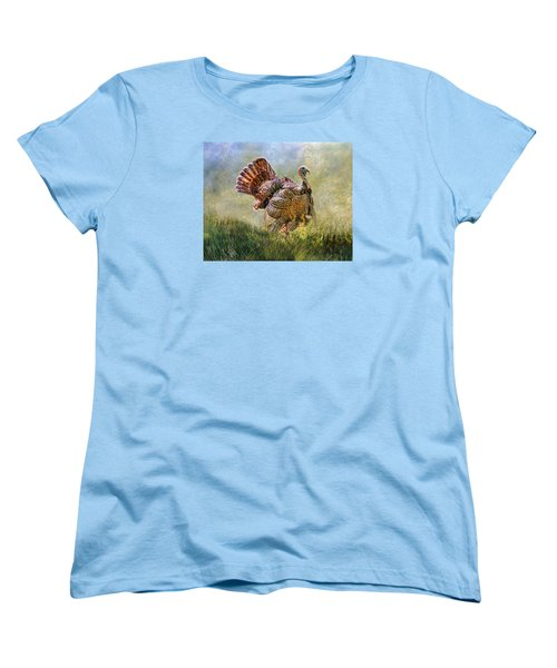 Women's T-Shirt (Standard Cut) featuring the digital art Wild Turkey by Mary Almond