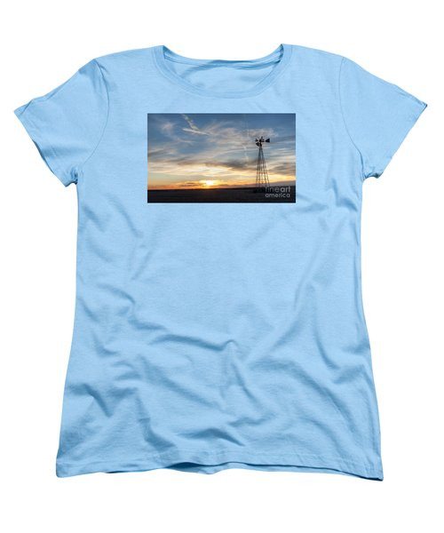 Women's T-Shirt (Standard Cut) featuring the photograph Windmill And Sunset by Art Whitton