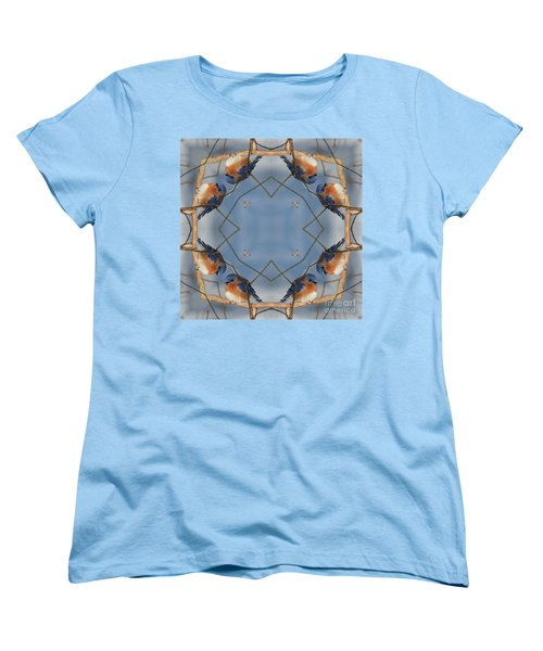 Winter Bluebird Kaleidoscope Women's T-Shirt (Standard Cut) by Smilin Eyes  Treasures