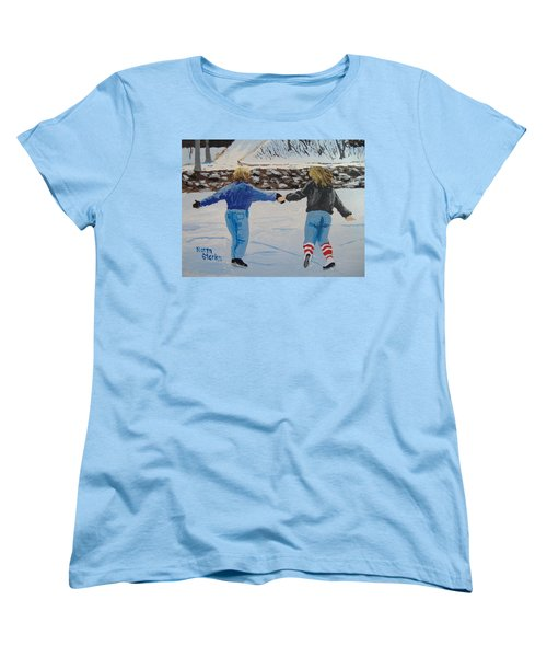 Women's T-Shirt (Standard Cut) featuring the painting Winter Fun by Norm Starks
