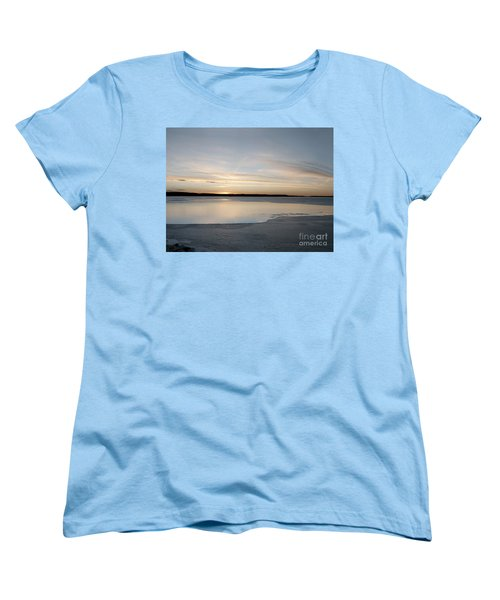 Women's T-Shirt (Standard Cut) featuring the photograph Winter Sunset Over Lake by Art Whitton
