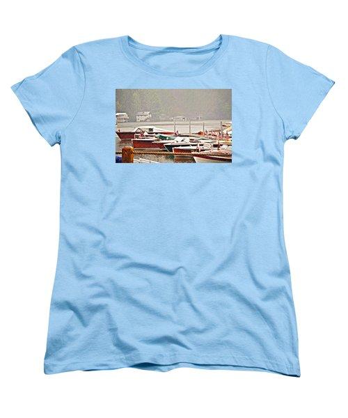 Wood Boats In The Rain Women's T-Shirt (Standard Cut) by Susan Leggett
