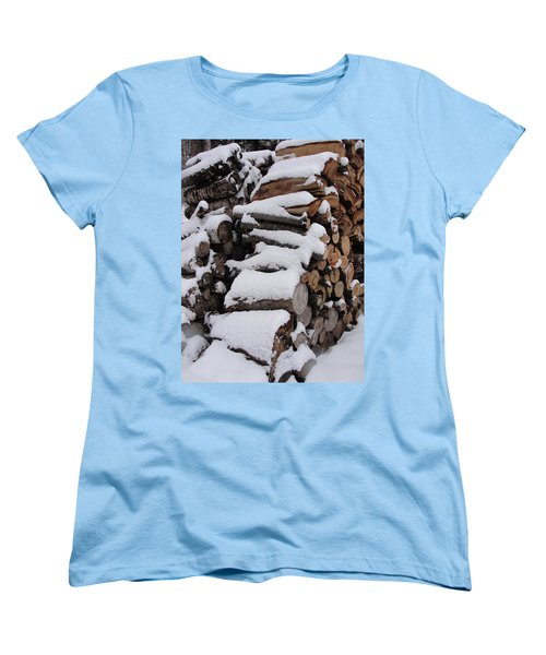 Women's T-Shirt (Standard Cut) featuring the photograph Wood Pile by Tiffany Erdman