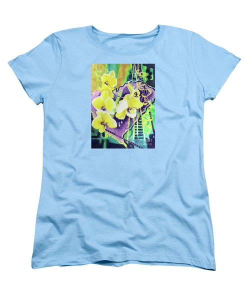 Yellow Orchids Of The Heart Women's T-Shirt (Standard Cut) by Kathy Braud