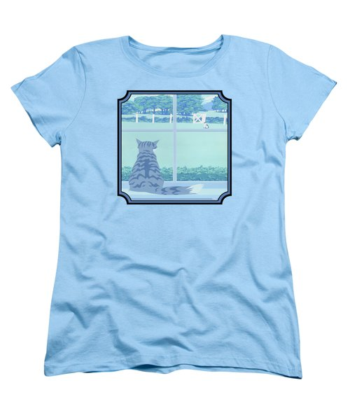 Abstract Cats Staring Stylized Retro Pop Art Nouveau 1980s Green Landscape - Square Format Women's T-Shirt (Standard Fit)