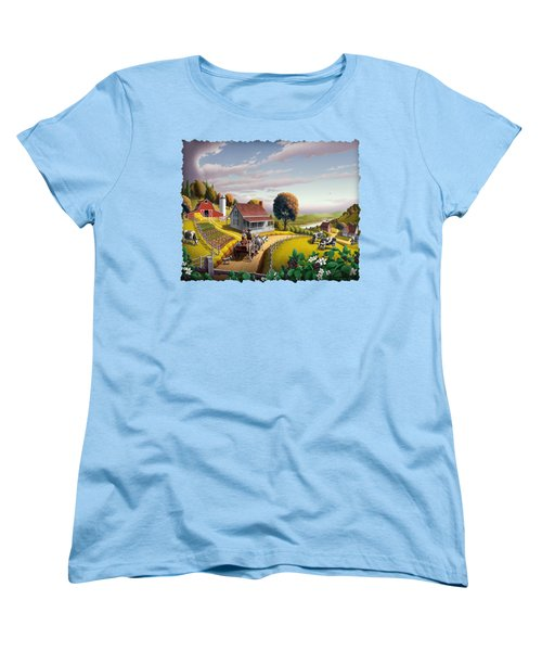 Appalachian Blackberry Patch Rustic Country Farm Folk Art Landscape - Rural Americana - Peaceful Women's T-Shirt (Standard Cut) by Walt Curlee