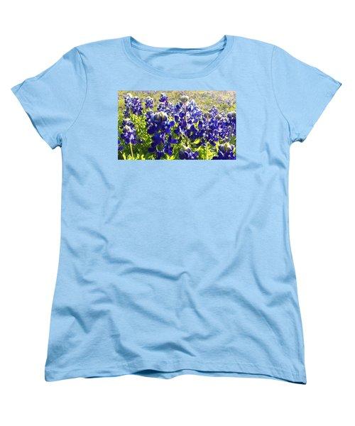 Women's T-Shirt (Standard Cut) featuring the painting  Bluebonnet Morning by Karen Kennedy Chatham