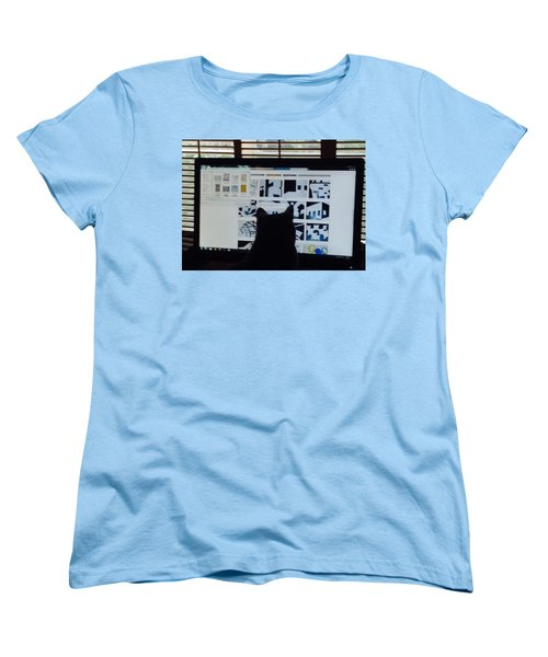 Critic Cat Women's T-Shirt (Standard Cut) by Erika Chamberlin