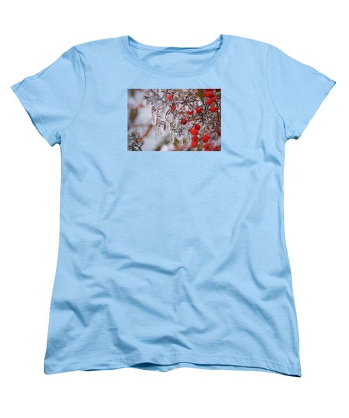 Women's T-Shirt (Standard Cut) featuring the photograph  Holiday Ice by Heidi Poulin