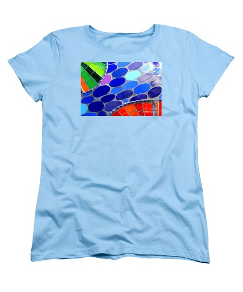 Mosaic Abstract Of The Blue Green Red Orange Stones Women's T-Shirt (Standard Cut) by Michael Hoard