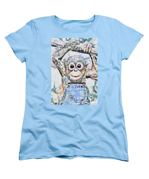Monkey Rainbow Splattered Fragmented Blue Women's T-Shirt (Standard Cut) by Catherine Lott