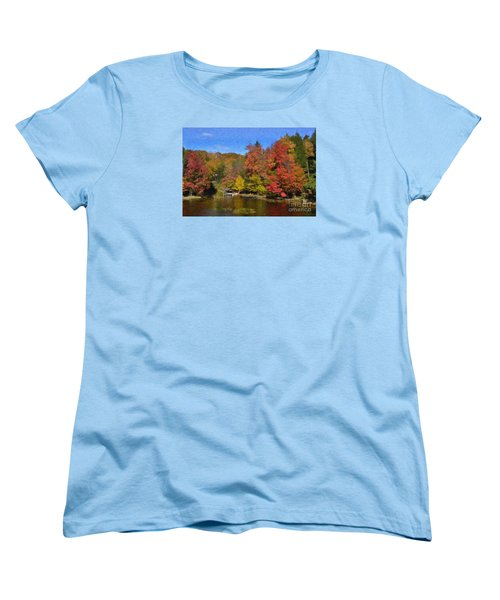 Women's T-Shirt (Standard Cut) featuring the painting A Little Piece Of Adirondack Heaven by Diane E Berry