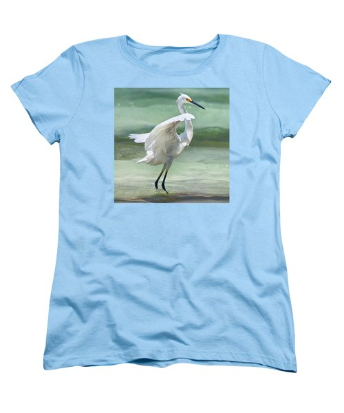 A Snowy Egret (egretta Thula) At Mahoe Women's T-Shirt (Standard Cut) by John Edwards