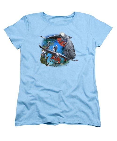 African Grey Parrots Women's T-Shirt (Standard Cut) by Owen Bell