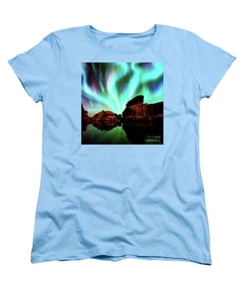 Aurora Over Lagoon Women's T-Shirt (Standard Cut) by Atiketta Sangasaeng
