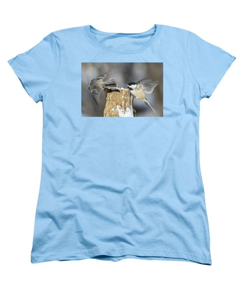 Women's T-Shirt (Standard Cut) featuring the photograph Black-capped Chickadee In Winter by Mircea Costina Photography
