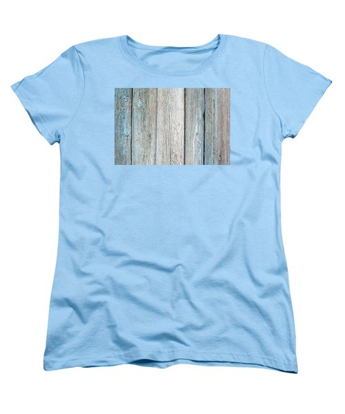 Women's T-Shirt (Standard Cut) featuring the photograph Blue Fading Paint On Wood by John Williams