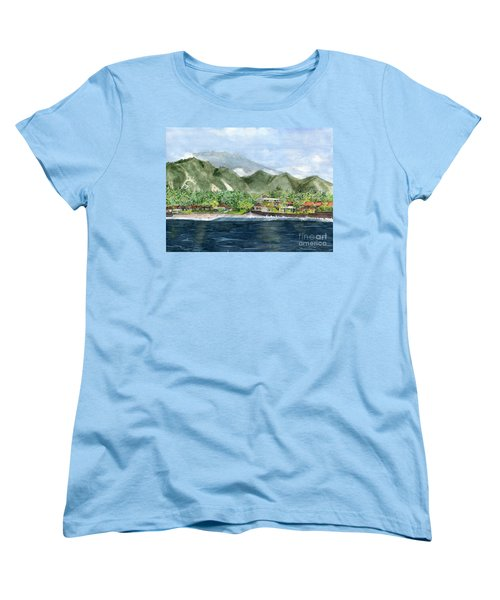 Women's T-Shirt (Standard Cut) featuring the painting Blue Lagoon Bali Indonesia by Melly Terpening