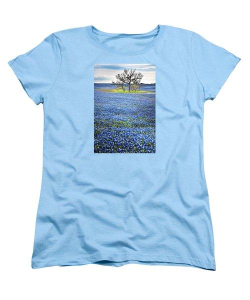Bluebonnet Field Women's T-Shirt (Standard Cut) by David and Carol Kelly