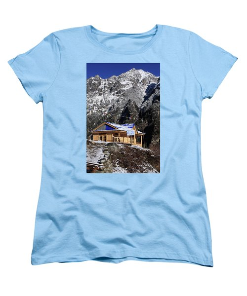 Women's T-Shirt (Standard Cut) featuring the photograph Meeting Point Mountain Restaurant by Aidan Moran