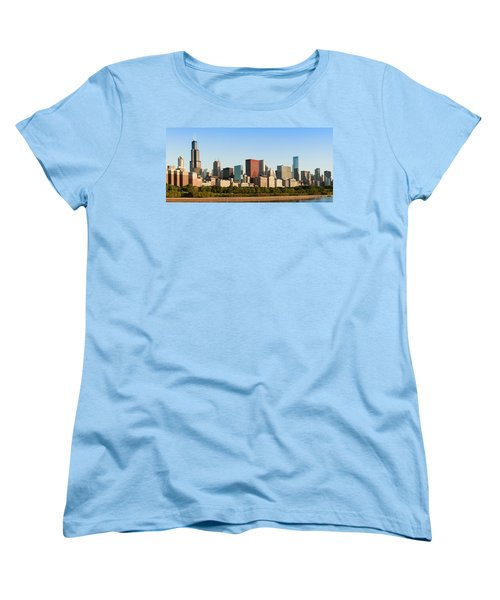 Chicago Downtown At Sunrise Women's T-Shirt (Standard Cut) by Semmick Photo