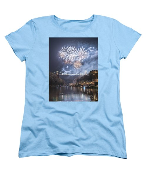 Women's T-Shirt (Standard Cut) featuring the photograph Clifton Suspension Bridge Fireworks by Colin Rayner