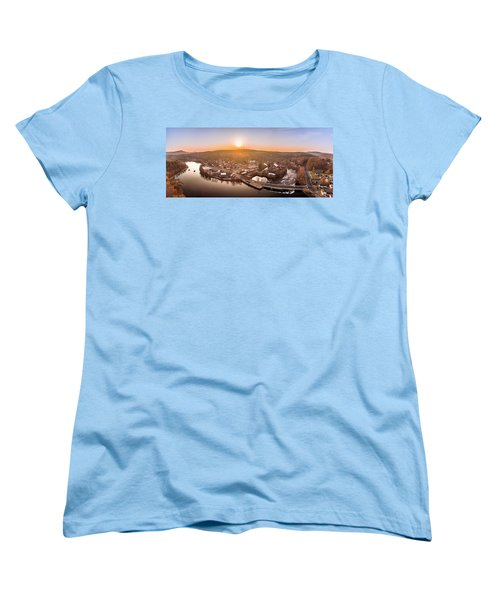 Colinsville, Connecticut Sunrise Panorama Women's T-Shirt (Standard Cut) by Petr Hejl