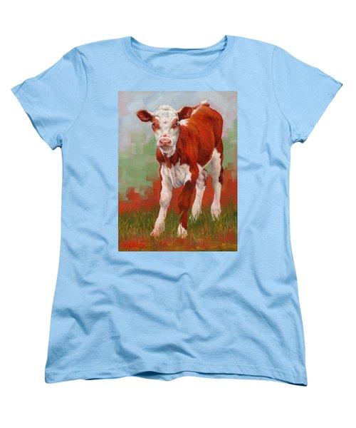 Women's T-Shirt (Standard Cut) featuring the painting Colorful Calf by Margaret Stockdale