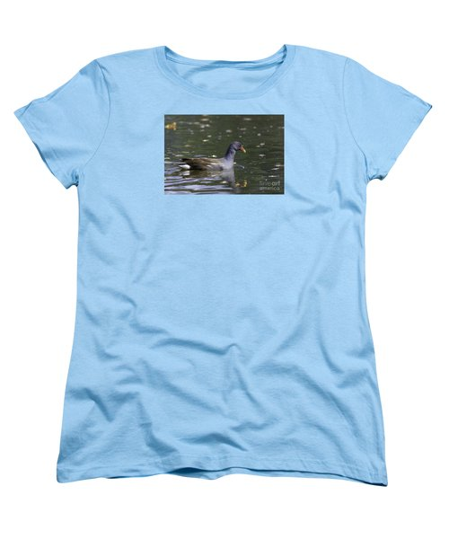 Women's T-Shirt (Standard Cut) featuring the photograph Common Moorhen by Jivko Nakev