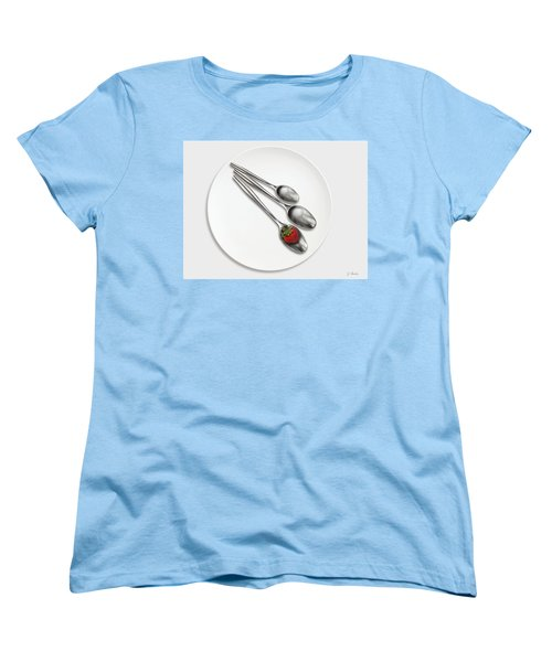 Dish, Spoons And Strawberry Women's T-Shirt (Standard Cut) by Joe Bonita