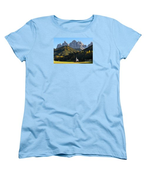 Dolomites Mountain Church Women's T-Shirt (Standard Cut) by IPics Photography