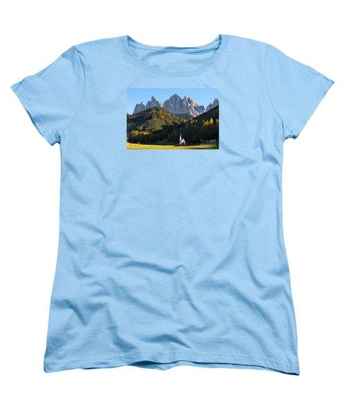 Dolomites Mountain Church Women's T-Shirt (Standard Cut)